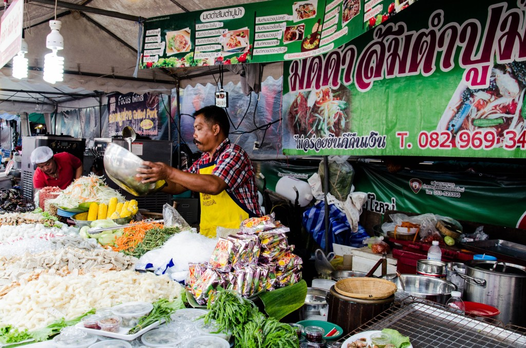Tables at the markets in Chiang Mai are full of delicious food