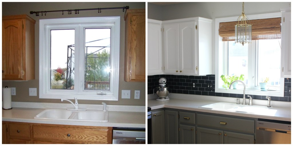 subway tile, chalkboard, gray and white kitchen cabinets, DIY, painted cabinets