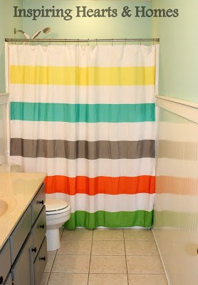 striped shower curtain, kids bathroom, inspiring hearts and homes