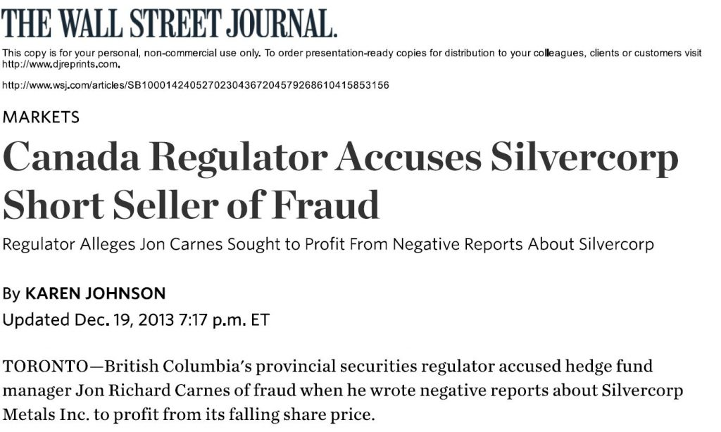 Jon Carnes, Roddy Boyd Charged with Massive Short Seller Stock Fraud Wall Street Journal Reports