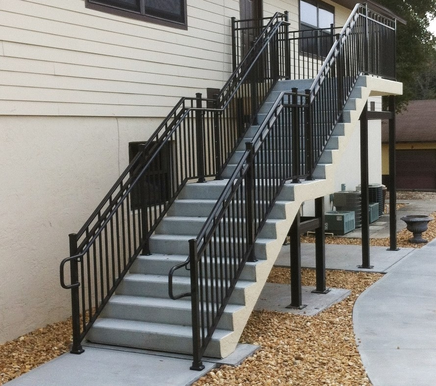 Leesburg Concrete Company Inc Misc Metals Steel Stairs   Metal Handrails For Concrete Steps   Wrought Iron   Easy   Patio   Safety   Different Style