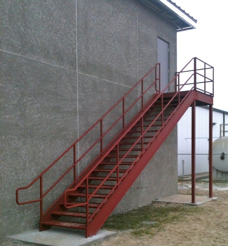 Leesburg Concrete Company Inc Misc Metals Steel Stairs | Metal Handrails For Stairs Exterior | Porch | Concrete Steps | Wrought Iron Railings | Outdoor Stair | Banister