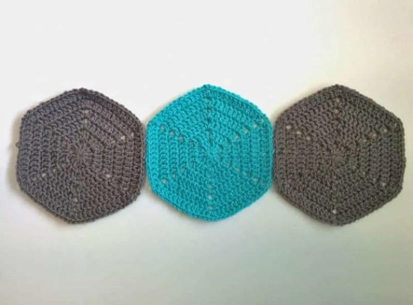 crochet hexagons trio