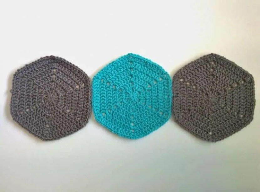 crochet hexagons trio
