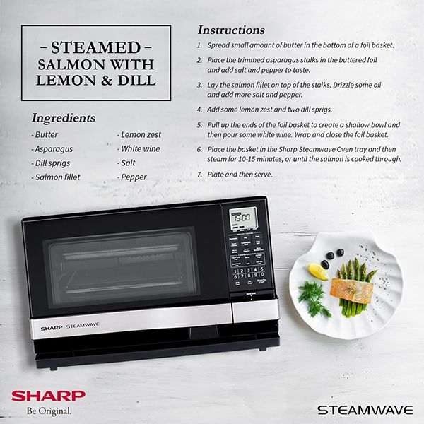 The Sharp Steamwave Oven: Your Quick And Reliable Kitchen Partner - Steamed Salmon with Asparagus and White Wine Recipe