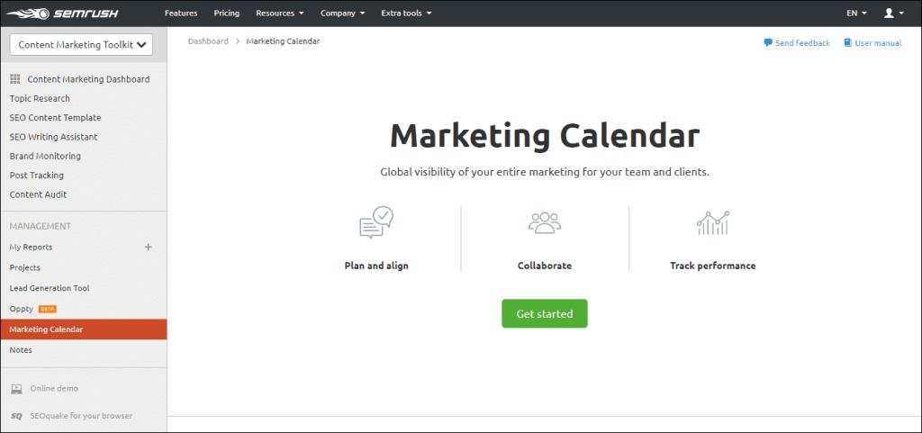 SEMrush content marketing calendar