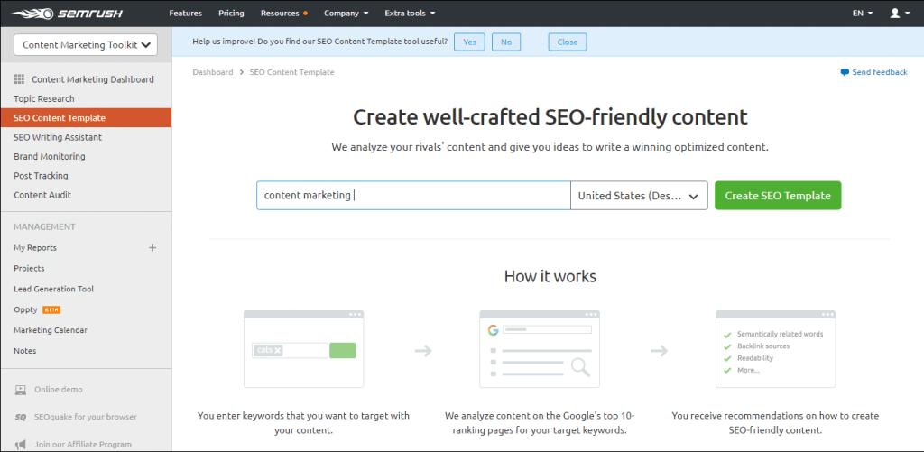 SEMrush SEO friendly content creation