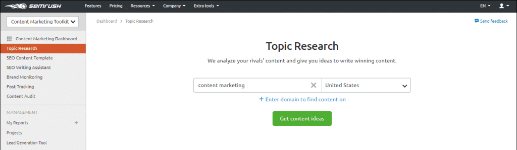 SEMrush content marketing Toolkit (Topic Research)