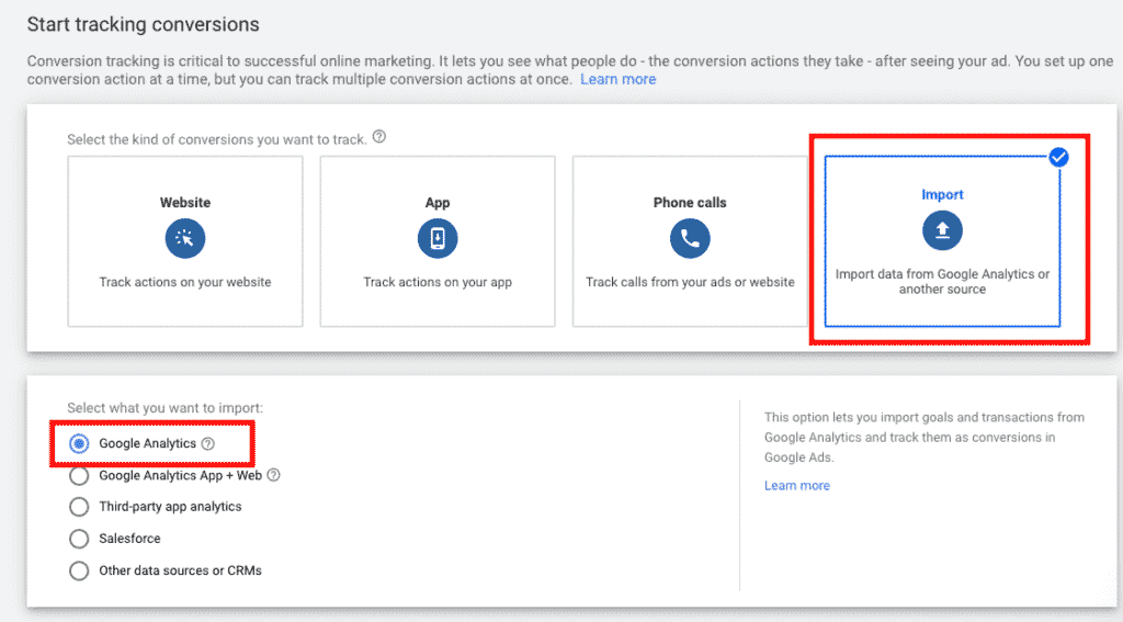 Import conversion in Google Adwords