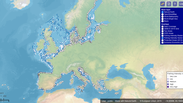 new tool, high intensity fisheries, maps, EU areas, JRC