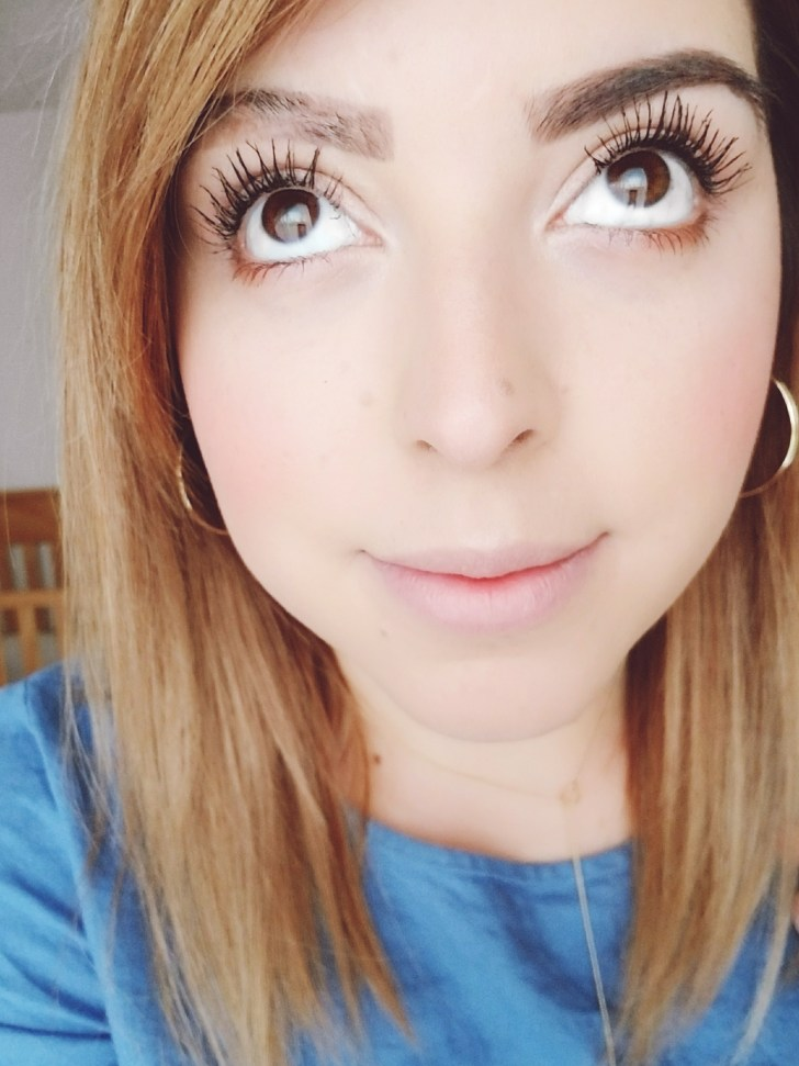 Kinda crazy/weird angle...but look at my lashes! This is with about 1.5 coats of mascara. No curler needed!