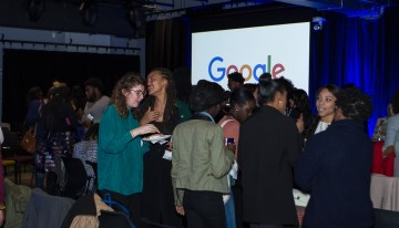 "Guests enjoy active networking at Google's  ""A Seat at the Table: Inclusion and Innovation in Technology & Society""Photo by Bernard Smalls"