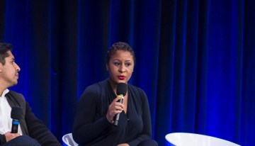 "Angela Benton – Founder/CEO, NewME Accelerator Discuss The Inclusion & Innovation In Technology & Society at  ""A Seat at the Table: Inclusion and Innovation in Technology & SocietyPhoto by Bernard Smalls"