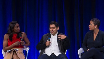 "Lola Ogunnaike,  Andrew Herrera – Founder/CEO, Remezcla, and Angela Benton – Founder/CEO, NewME Accelerator Discuss The Inclusion & Innovation In Technology & Society at  ""A Seat at the Table: Inclusion and Innovation in Technology & SocietyPhoto by Bernard Smalls"