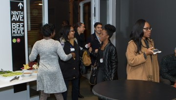 "Guests enjoy networking at Google's ""A Seat at the Table: Inclusion and Innovation in Technology & Society""Photo by Bernard Smalls"