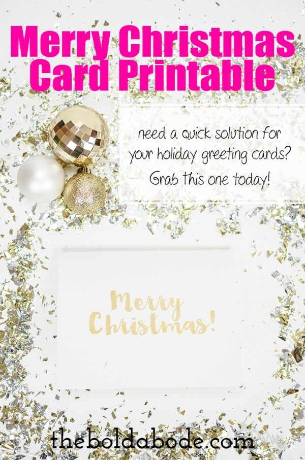 quotGold Foilquot Merry Christmas Card Printable