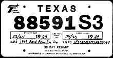 Texas Dealer License Plates