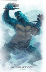 Some of the art of Kaiju Rising, from Ragnarok Publications and Sunstone Games.