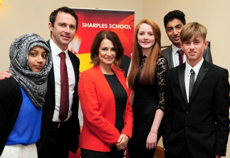 The Bolton News: At Sharples School, from left, Munira Patel, Dougie Freedman, headteacher Rachel Quesnel, head girl Ellie Jarvis, Adil Yousuf and Scott Fitzimmons