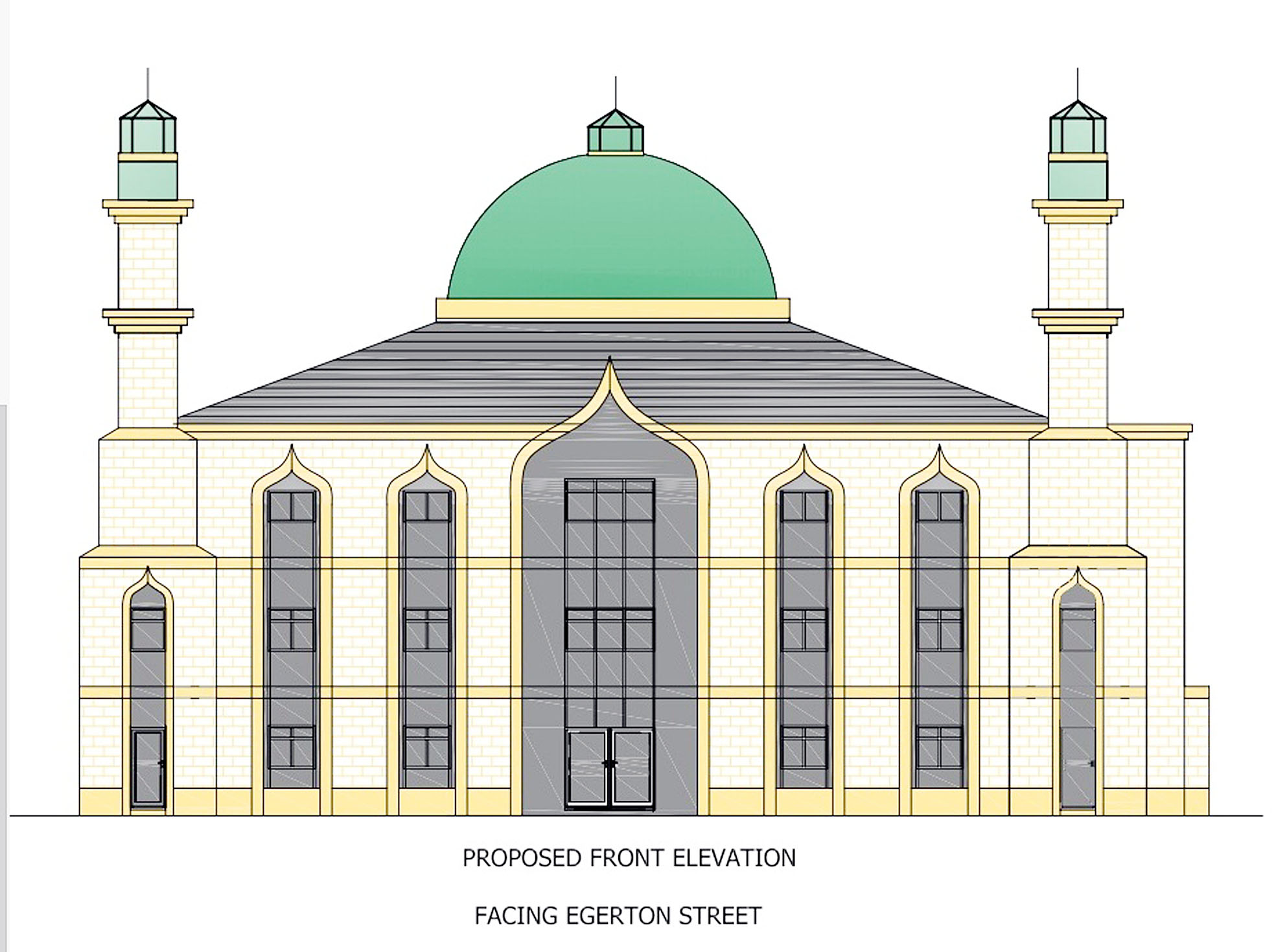 "The Bolton News: An artist's impression of the three-storey ""landmark"" mosque that religious leaders want to build in Farnworth"