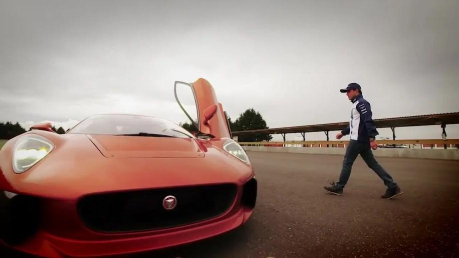 Felipe Massa gets behind the wheel of the Jaguar C-X75