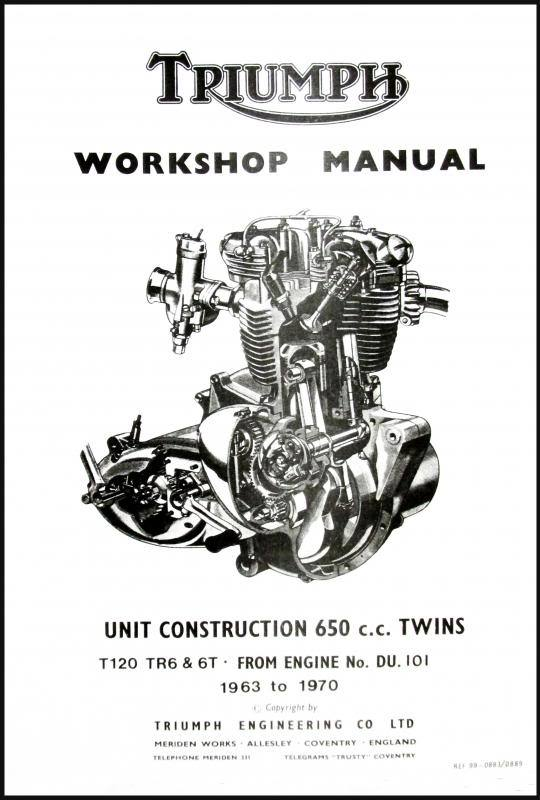 TRIUMPH 650 UNIT TWIN FACTORY SHOP MANUAL T120 TR6 6T 1963
