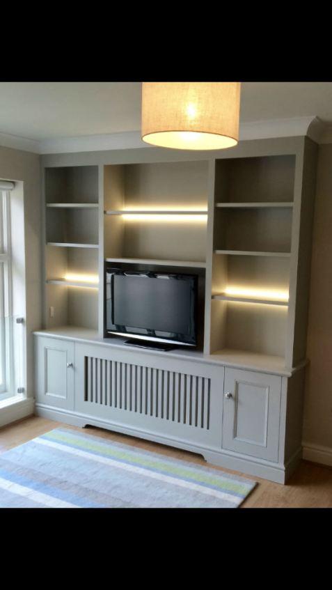 Bespoke Bookcase/Radiator cabinet with strip LED lighting