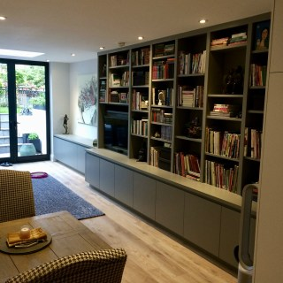 Modern media shelving in Clapham