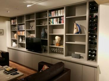 Bookcase Shelving incorporating TV and bespoke wine rack