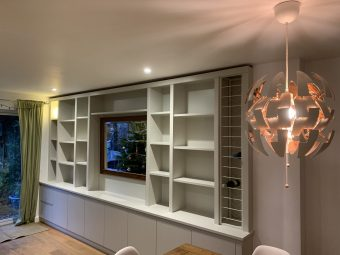 Purpose Built Media Unit with Wine Rack