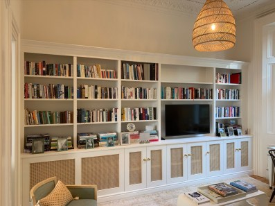 Wall to wall media bookcase unit