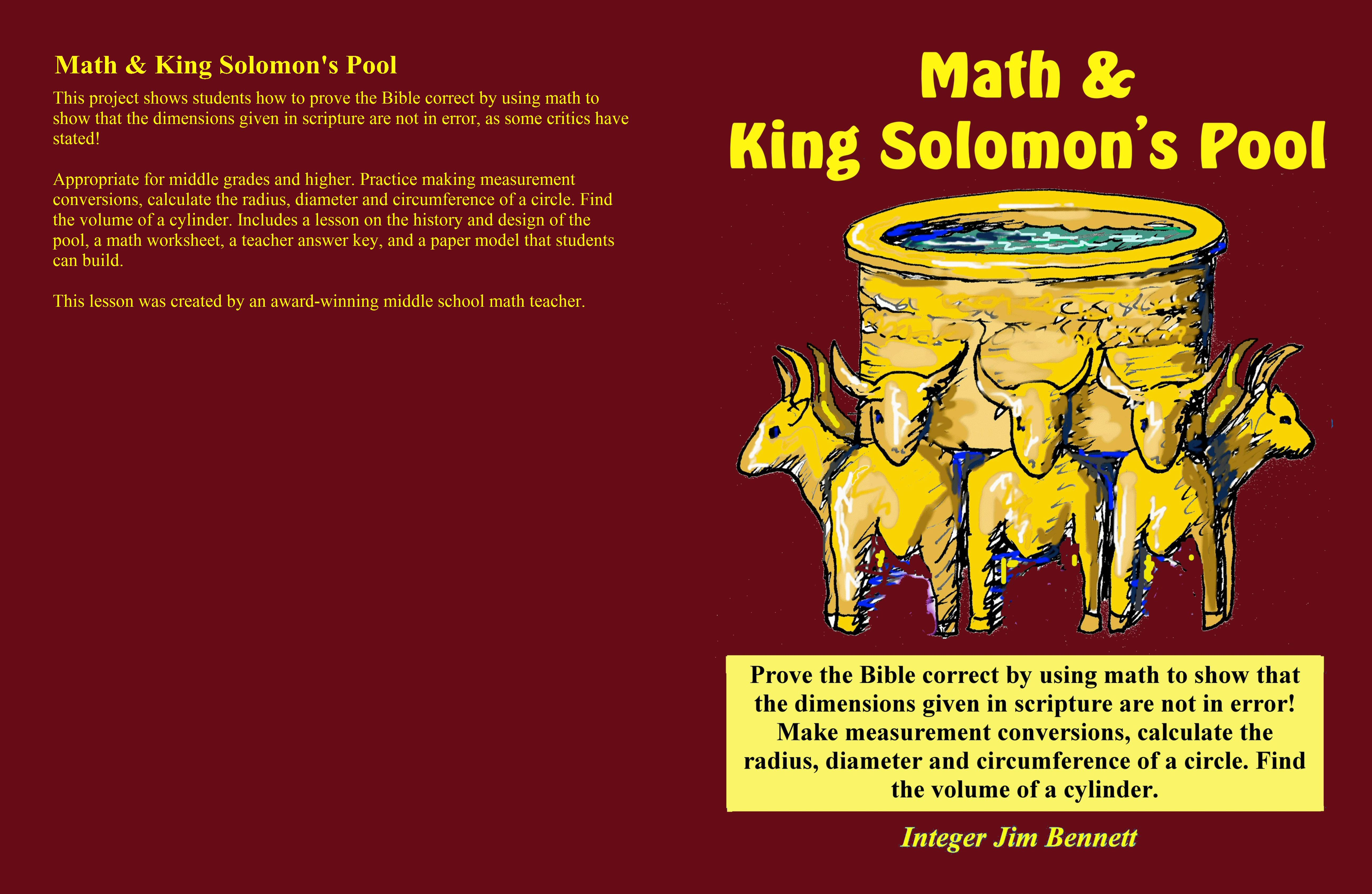 Math And King Solomon S Pool By Jim Bennett 6 95