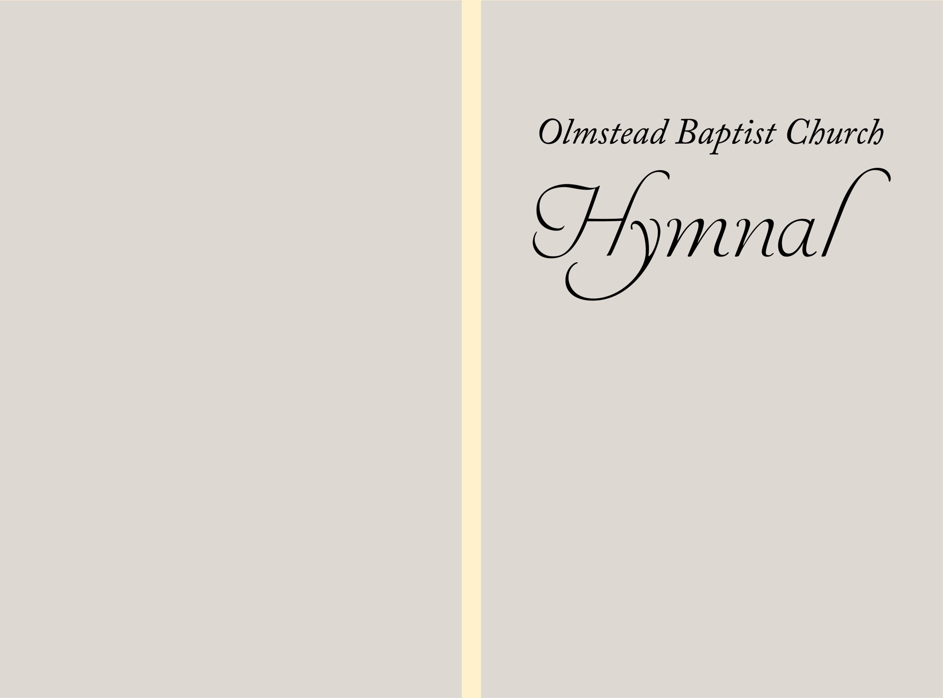 Olmstead Baptist Church Hymnal by Olmstead Baptist Church