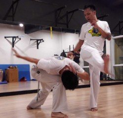 Pictures show Wu and a student perform various capoeira moves.