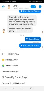 Sports events chatbot