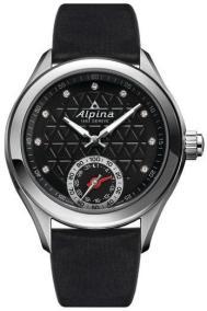 ALPINA Horological Smartwatch Diamond Ladies - AL-285BTD3C6, Silver case with Black Leather Strap