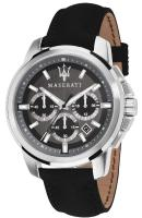 MASERATI Successo Chronograph - R8871621006 Silver case with Black Leather Strap