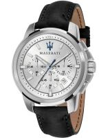 MASERATI Successo Chronograph - R8871621008 Silver case with Black Leather Strap