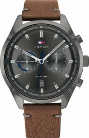 TOMMY HILFIGER Bennett Dual Time Mens - 1791730, Anthracite case with Brown Leather Strap