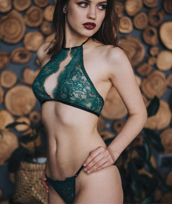 dark green lingerie