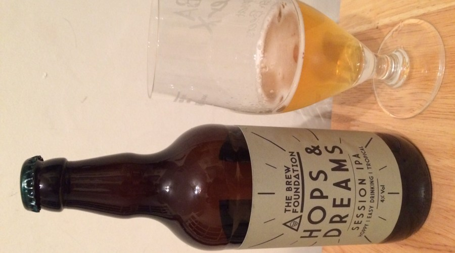 Hops & Dreams bottle with glass