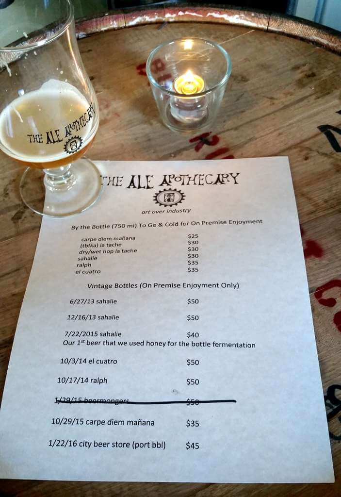 The Ale Apothecary tasting room - menu and prices