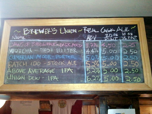 Brewers Union beer list