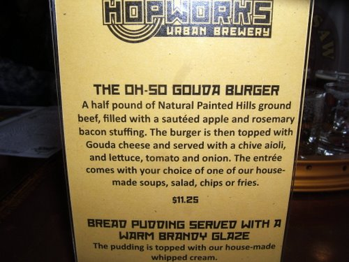 Hopworks special Oh-So Gouda Burger
