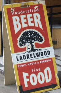 Laurelwood Public House and Brewery, sandwich board outside
