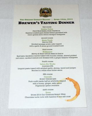 Oregon Garden Brewfest Brewer's Tasting Dinner menu