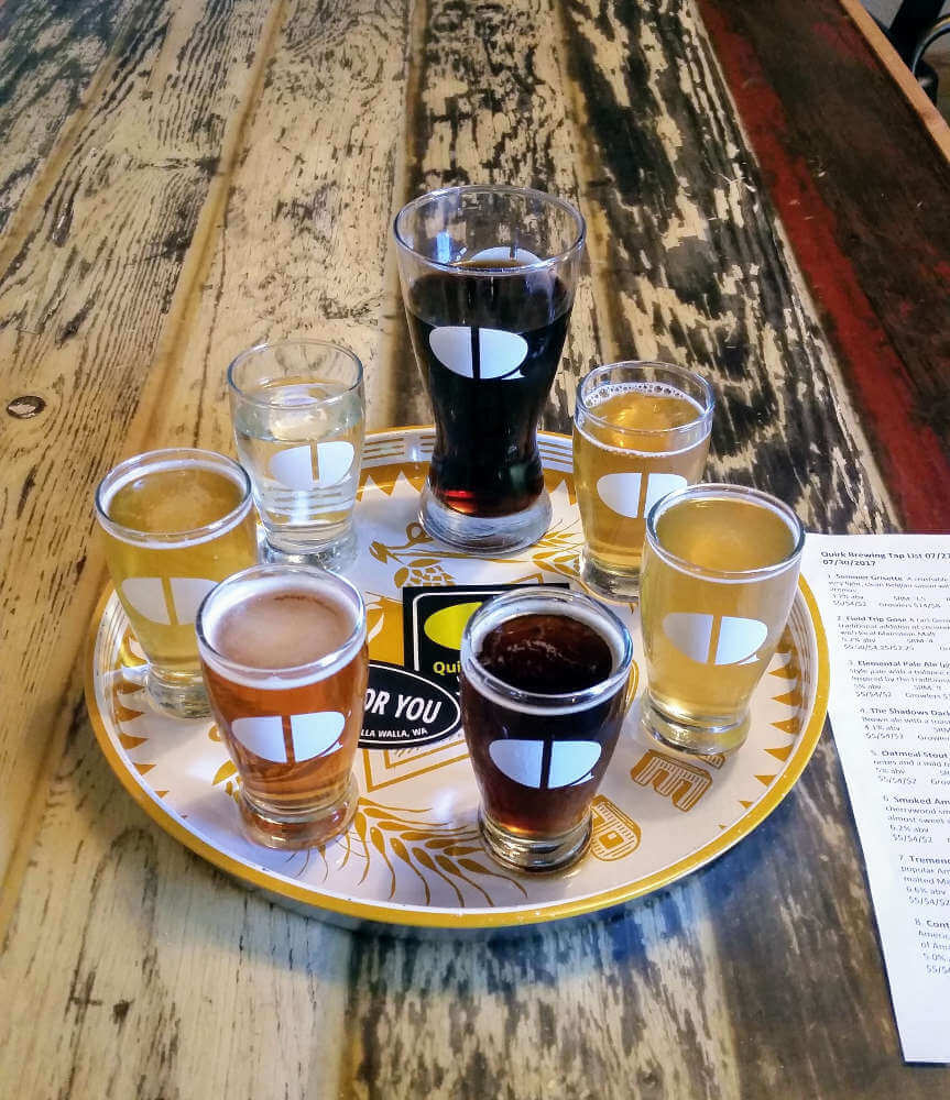 Quirk Brewing sample tray