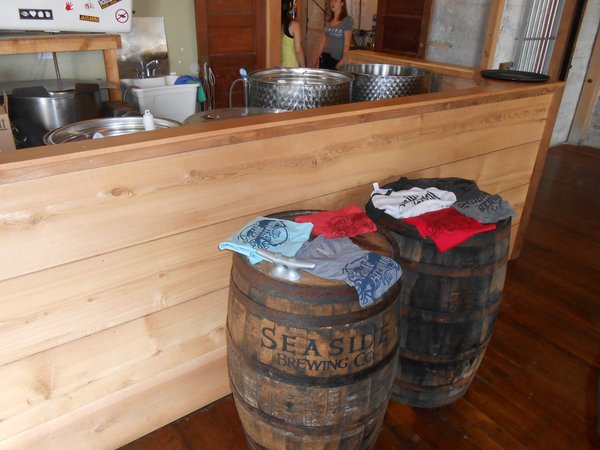 Seaside Brewing equipment and barrels