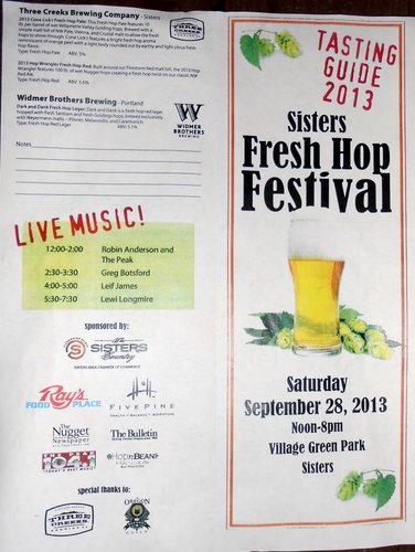 Sisters Fresh Hop Fest program