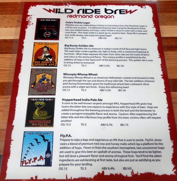 Wild Ride beer menu